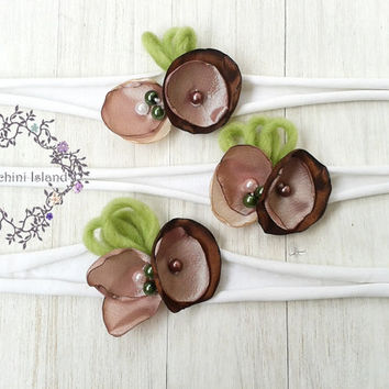 Wood Fairy Baby heaband, Newborn Headband, Flower Headband, Tieback, Newborn Photo prop, Baby Girl Photo Prop