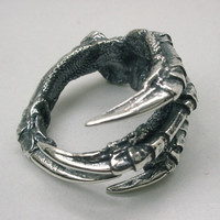 Raven Claw Ring in Sterling Silver, Carrion Crow