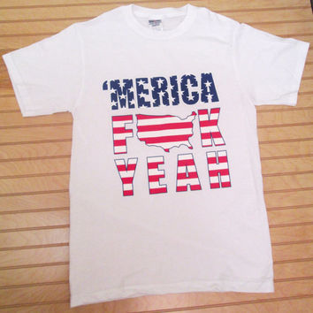 Printed Unisex T Shirt 'Merica F**k Yeah US Flag Pattern 4th of July