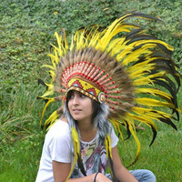 Indian Yellow  Feather Headdress by THEWORLDOFFEATHERS on Etsy