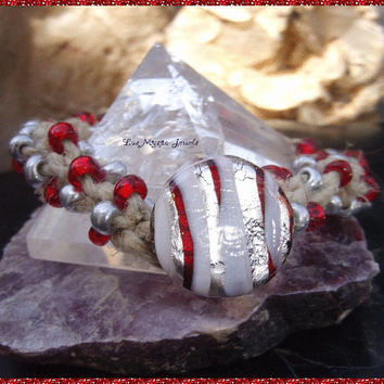 Macrame Beaded Bracelet, Murano Glass, Hippie, Rocker, Boho, Direct Checkout