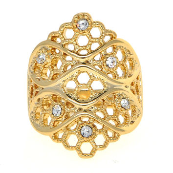 Dear Deer Yellow Gold Plated Cubic Zirconia Filigree Intricate Leaf Branch Cocktail Ring