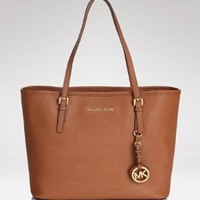Michael Kors Women's Michael Kors Medium Saffiano Travel Leather Shoulder Tote - Luggage