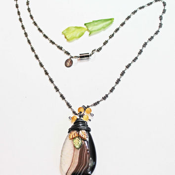 Oval Pendant, Brown Black Agate, Wire Wrap Pendant, Yellow Jade Beads, Citrine Peridot Glass Leaves, Hematite Long Chain, Magnetic Clasp
