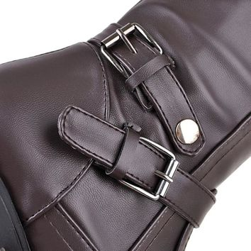 ENMAYER Knee-high Boots for Women Flats Shoes Woman Riding Boots Flats Shoe Large Size 34-43 Winter Boots Buckle Strap Ladies