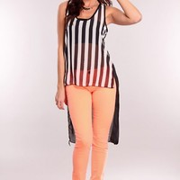 Black White Stripe Sheer Mullet Top