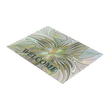 Floral Fantasy, Abstract Fractal Art Doormat