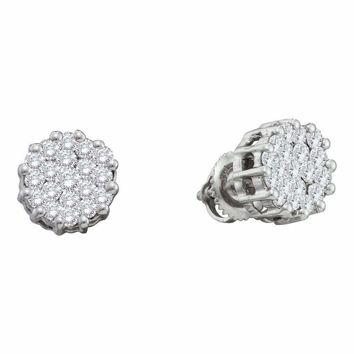 14kt White Gold Women's Round Diamond Flower Cluster Screwback Earrings 1.00 Cttw - FREE Shipping (USA/CAN)