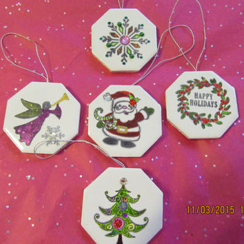 Ceramic Tile Christmas Ornaments - Set of 5 - Snowflake, Christmas Tree, Wreath, Santa, and an Angel