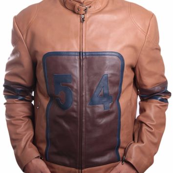 Mens Tan Cowhide Racing Leather Jacket - Super Sale