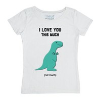 Dino Love-Female White T-Shirt