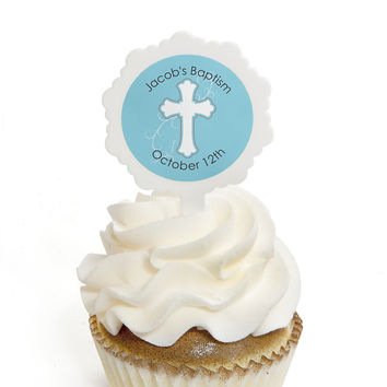 Little Miracle Boy Blue & Gray Cross - Personalized Baptism Cupcake Picks and Sticker Kit - 12 ct