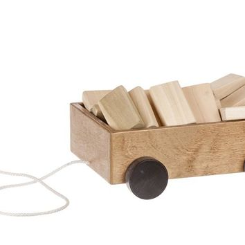 Wooden Wagon - w/ Assorted 30 pc Wooden Blocks Set Toys for Kids