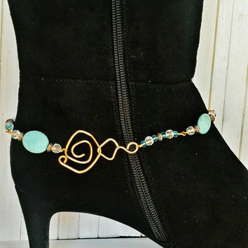 Boot Bracelet, Boot Anklet, Boot Jewelry, Copper and Turquoise Anklet