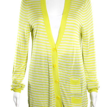 NWT J CREW Yellow Striped V Neck Long Sleeve Button Front Carigan Sweater Sz L
