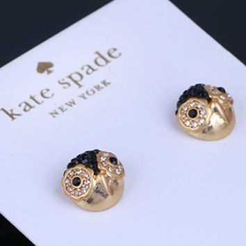 Kate Spade Fashion New Diamond Owl Personality Personality Earring Women Golden