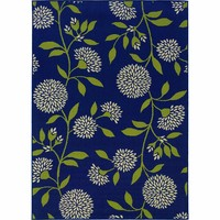 Oriental Weavers Outdoor Blue Green Polypropylene Floral Machine-Woven Area Rug
