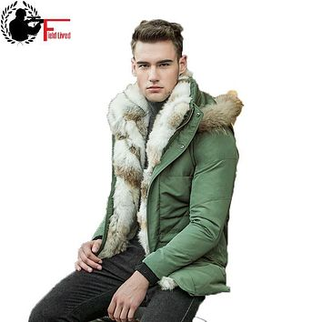High Quality 2017 Men Winter Jackets White Duck Down Jacket Male Warm Coat Real Rabbit Fur Hooded Detachable Long Parka Luxury