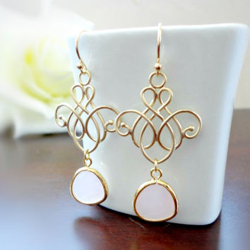 Pink glass stone gold filigree earrings, Wedding earrings, Bridesmaid earrings, Simple everyday jewelry