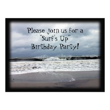 """""""Surf's Up"""" Birthday Party Personalized Invites"""