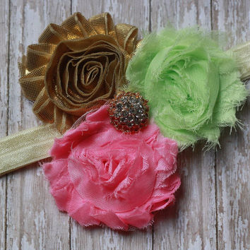 GOLD HEADBAND, mint, green, pink, baby girl, toddler, birthday, Easter, Spring, matilda jane, photo, newborn, rhinestone, flower, boutique