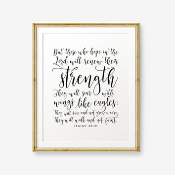 SALE Isaiah 40:31, Bible verse printable, Christian Nursery Wall Art, Christian Gift, Inspirational quote, Scripture Print