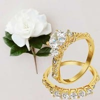 Bling Jewelry Gold Vermeil 3ct CZ Engagement and Wedding Ring Set | Bling Jewelry