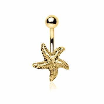 Gold Plated Starfish Navel Ring
