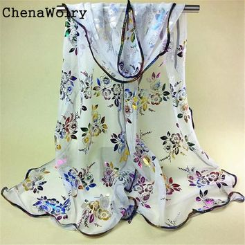 ChenaWolry Women Vintage Colorful Flower Lace Gauze Veil Wrap Scarf Shawl Wrap Hot Sales Attractive Luxury New Fashion Nov 23