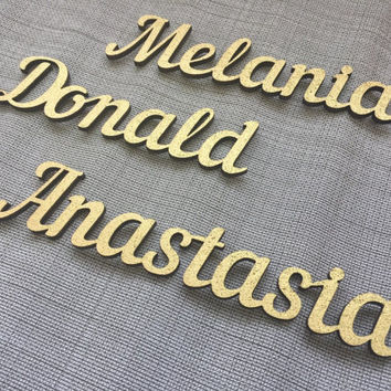 Personalized wedding place cards gold, Laser cut place names,Wooden Place cards, Wooden rustic centerpieces, Wedding wood place names