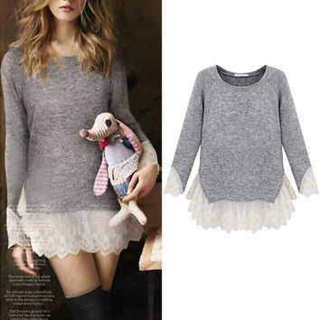Women Girls Long Sleeve Lace Peplum Blouse Top Shirt Casual Princess Pullover = 1946258884
