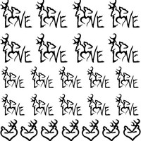 Browing Deer in Black w/word Love1 -  Nail Decals