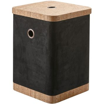 Arona Faux Suede and Cork Hamper Laundry Basket With Carry Handles and Lid