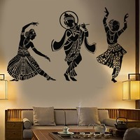 Vinyl Wall Decal Dance Indian Womans Devadasi Indian Dance School Hindu Stickers Unique Gift (774ig)