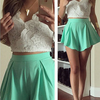 White and Green Floral Lace Cropped Top and Pleated Shorts Skirt