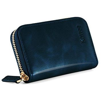 Kattee Leather Zip Around Wallet Womens RFID Credit Card Small Wallet