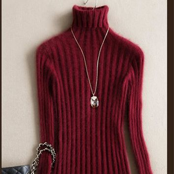 2018 pure mink cashmere sweaters turtleneck Sweaters fall and winter warm slim pullovers fashion short dress elasticity sweater