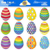 Easter Eggs Clipart. Easter Clip Art for Instant Download. Rainbow Easter Egg Clip Art. Bright Colours Easter Clipart. Spring Clipart.