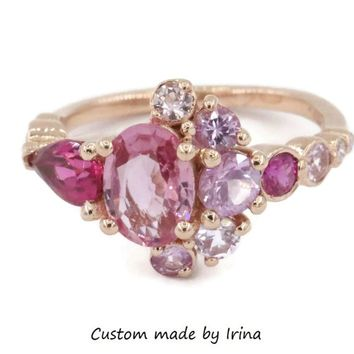 Cluster engagement ring, pink sapphire cluster ring, Rose gold cluster ring, Pink diamond OOAK dainty ring, ruby ring, tourmaline ring