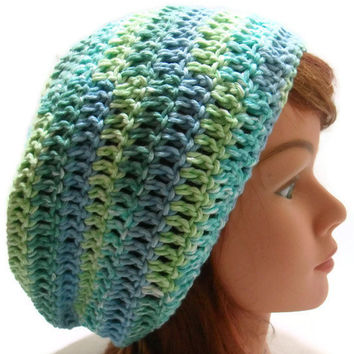 Crochet Cotton Slouchy Tam Over Sized Beanie in greens and blues Small