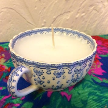 Homemade Natural Lavender Scented Tea Cup Candle