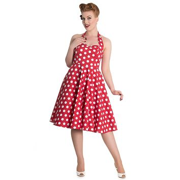 Hell Bunny 60's Red and White Polka Dots Halter Flare Party Dress