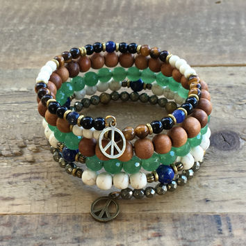 "Howlite and Aventurine, ""Calm and Balance"" Boho Chic Multilayer Bangle"
