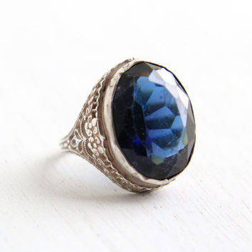 Vintage Art Deco Blue Glass Ring- Antique Size 5 1/2 1930s Sterling Silver Filigree Glass Costume Jewelry