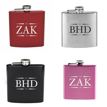 Personalized Engraved 6oz Hip Flask Stainless Steel Customize Father's Bride Groomsman Usher Drinkware Wedding Party Favors F07