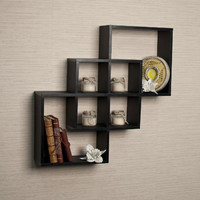 Danya B. Intersecting Squares Decorative Black Wall Shelf