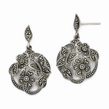 Sterling Silver Marcasite Flower and Butterfly Dangle Post Earrings