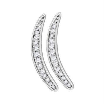 Sterling Silver Women's Round Pave-set Diamond Climber Earrings 1-5 Cttw - FREE Shipping (USA/CAN)