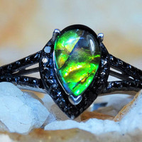 Natural Canadian Ammolite/Black Diamond Ring sz8 .95ct 7 Gem Comfort Fit 925 Sterling Silver Free Domestic Shipping