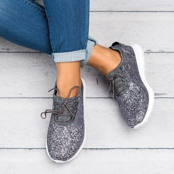 Glitter Sneakers - Pewter